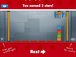 Kids earn one, two, or three stars for completing the level, getting more stars for more concise, precise programs.