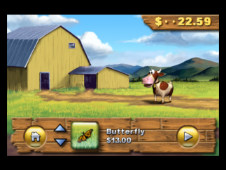 Decorate a farm scene by purchasing animals, plants, and other stuff.