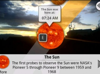 In addition to seeing the location of a celestial body, kids can also get facts about it.