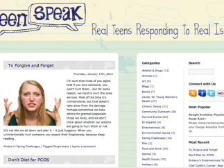 The companion blog, teenspeak.org, addresses health issues in a casual format.