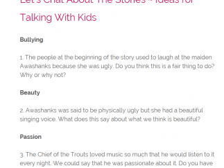 Kids and parents can talk about the stories via the topics for discussion at the end of each story.