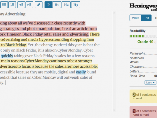 Hemingway Editor lets writers check their work's readability and fluency.