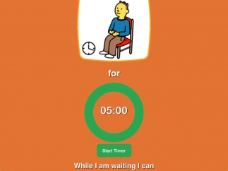 The waiting board includes a timer as well as slots for up to two suggestions of things to do while waiting.