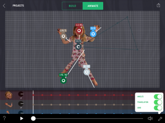 Students can view angles and coordinates and make adjustments to animate.