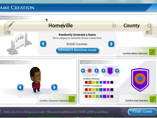 Players choose the name of their community and their representative avatar.