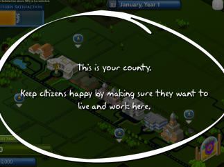 An overlay gives pointers on how to play the game.