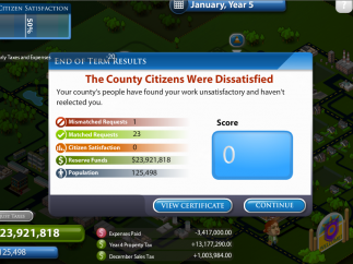 The game ends with a certificate showing status of both the community and the player's reelection campaign.