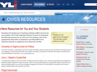 The Civics Resources list links to other civics websites; watch out for broken links.