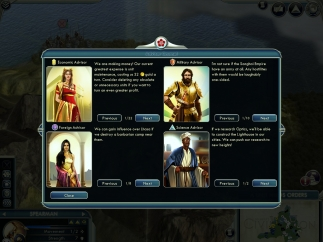 The player receives news and advice from his/her council.