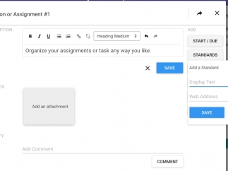 Assignments can include standards, but users will need to enter codes and descriptions manually.
