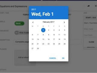 A built-in calendar makes it easy to add start and due dates to assignments.