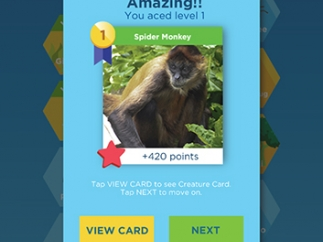 Kids earn creature cards when they score 100% on a level.