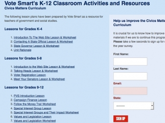 There's an extensive collection of lessons plans for grades K-12.