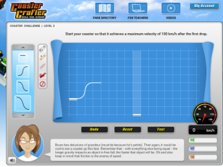 The main simulator screen allows students to drag and drop pieces to make a roller coaster.