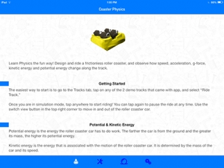 The home screen includes some getting started tips and a summary of physics concepts.