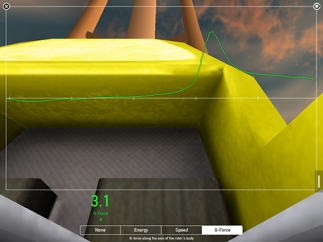 The g-force options shows changes related to the position of the roller coaster car.