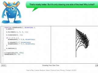 Drawing a tree with intricate branches; Code Monster invites kids to think creatively about why code does what it does.