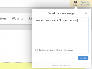 While searching for help it's easy to send a message, complete with a useful screen-shot option.
