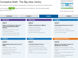 Content is organized into units, each based around a big idea, like Learning Equivalent Fractions.