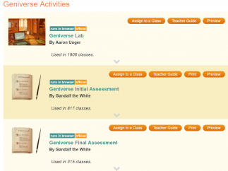 Collections include activities and assessments.