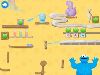 When kids complete a level, they add a piece to Cookie Monster's crazy cookie delivery contraption.