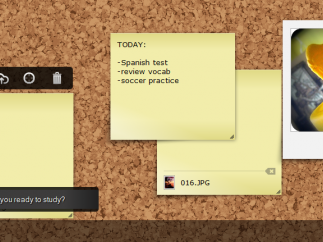 Users can add photos, files, or text to a sticky note.