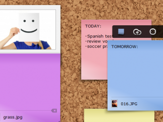 Different colored sticky notes facilitate organizing.