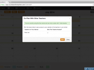 Users can share with 1 other user, but only co-plan with teachers in your own school; note the typo.