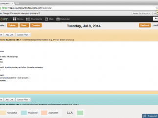 """Lesson plans can be added in the """"day"""" view, but the template is not adjustable."""