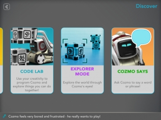 Choose how you want to interact with Cozmo: play, explore, code, or converse.