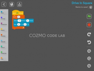 Code Lab Constructor mode uses Scratch blocks to create programs.