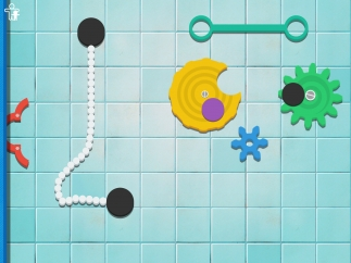 New levels bring new tools and challenges; some wheels and gears are stationary and immobile, others spin and can be dragged around the screen.