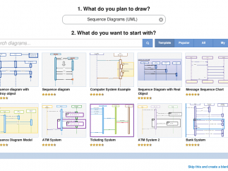 About 40 diagram choices bring up various templates.