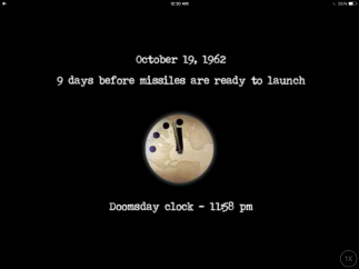 "The Doomsday Clock ticks forward and back at the end of each ""day,"" illustrating the user's overall progress."