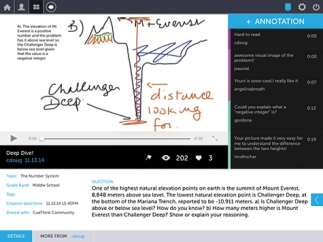 Students and teachers can provide annotations, or feedback, for other kids' thinklets.