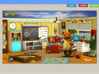 Ruby's classroom has four areas where kids can click to play.