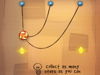 Cut these ropes one by one to use swinging trajectory and collect all three stars and drop candy into Om Nom's mouth.