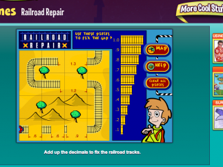 """""""Railroad Repair"""" – a game that involves addition of decimals to complete the railroad tracks and get the trains to the station"""