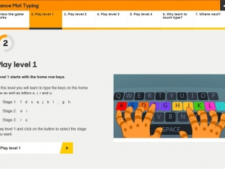 Each typing skill is broken up into one of four lessons, each consisting of three stages.