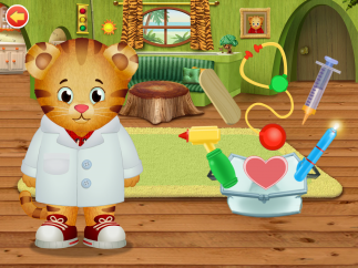 """Tap the objects to """"use"""" them with Daniel Tiger; learn what they're called and what they do."""