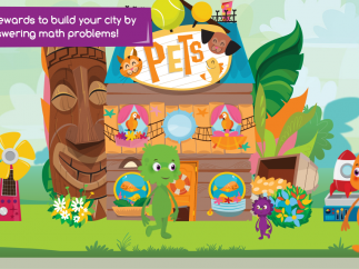 Kids can build facades and accessories to place in the town.