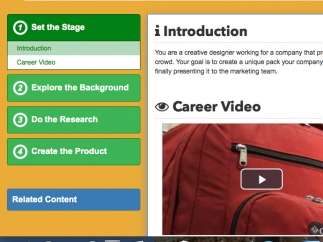 Performance tasks start with an introduction and end with a student product.