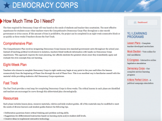 The Democracy Corps section offers detailed lesson plans for a service learning course.