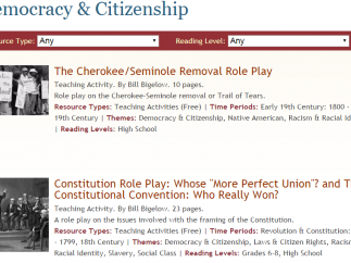 Collection of resources to explore issues of democracy and citizenship in the United States.