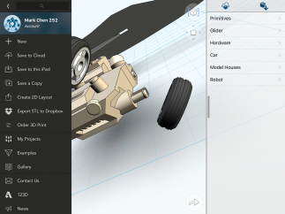 The options menu lets one save, export, share, and print models.