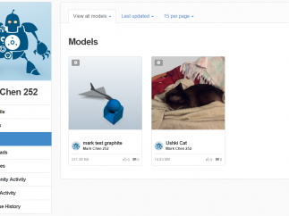On the 123D website, projects from the 123D suite of apps are viewable.