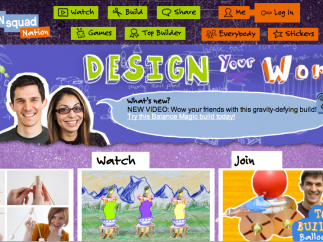 The highly engaging home page has links to the major sections: Watch, Build, Share, Games, and Top Builder.