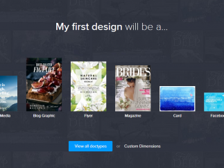 The new design screen offers six layout categories to choose from, or you can customize your own.