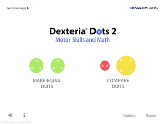 Kids choose from two main options, Make Equal Dots or Compare Dots.