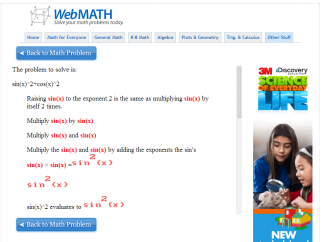 WebMath gives step by step directions for how to solve problems.
